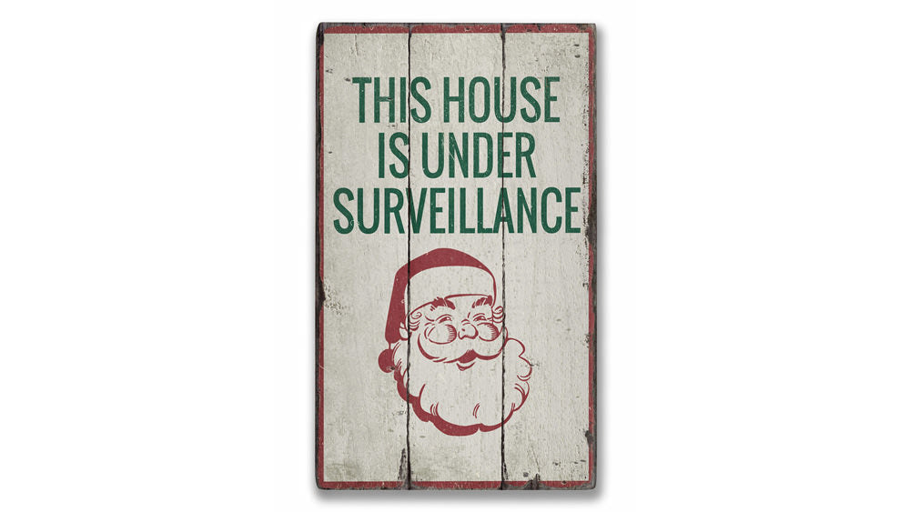 Santa Surveillance Rustic Wood Sign