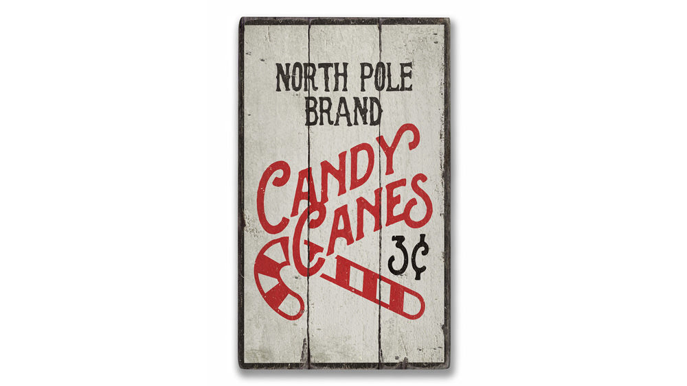 North Pole Candy Canes Rustic Wood Sign