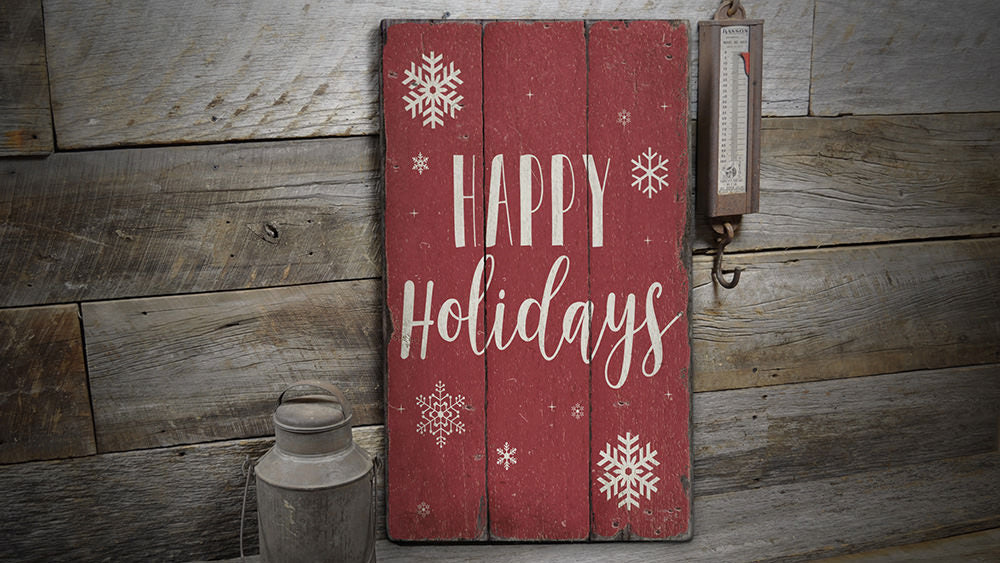 Happy Holidays Rustic Wood Sign