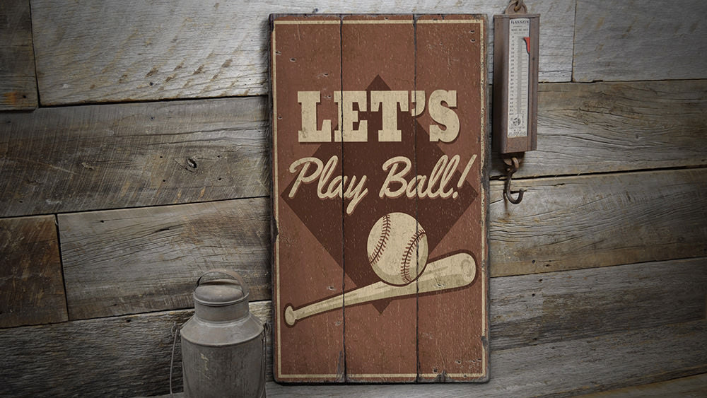 Play Ball Rustic Wood Sign