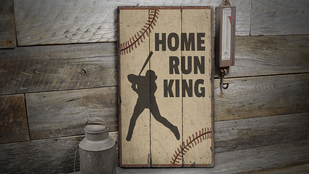 Home Run King Rustic Wood Sign