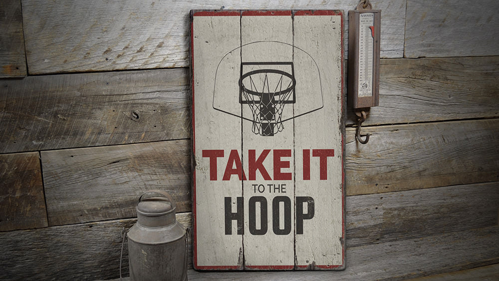 Hoop Rustic Wood Sign