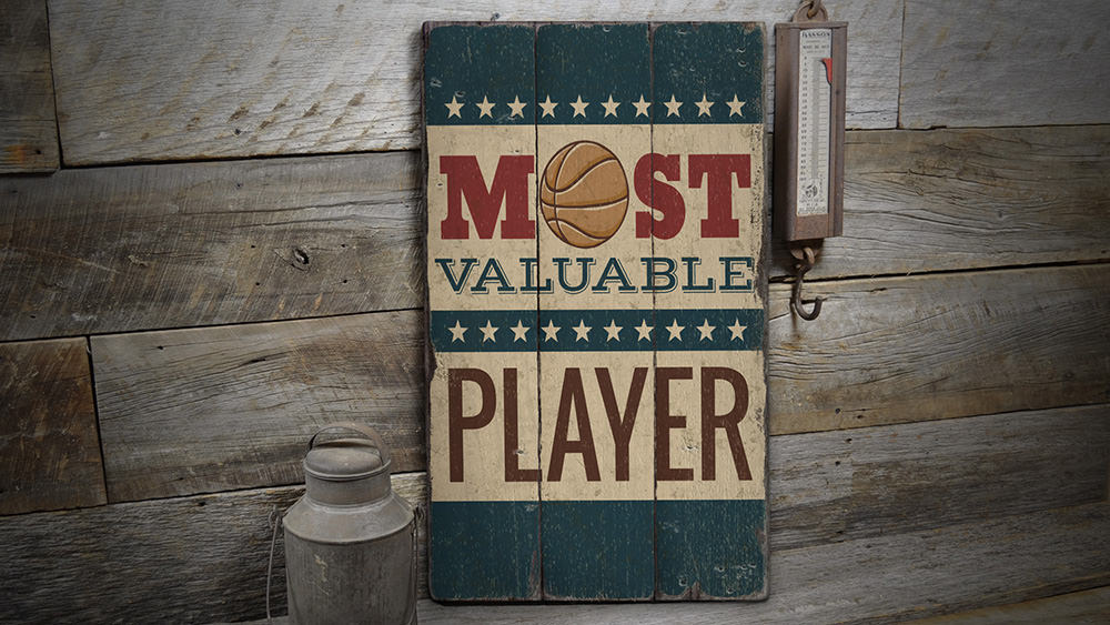 Basketball MVP Rustic Wood Sign