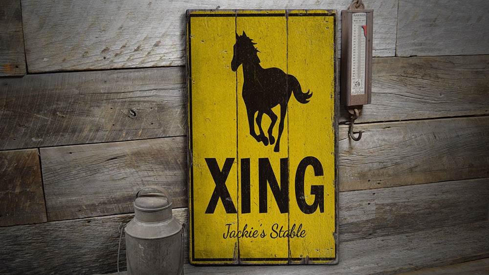 Horse Crossing Rustic Wood Sign