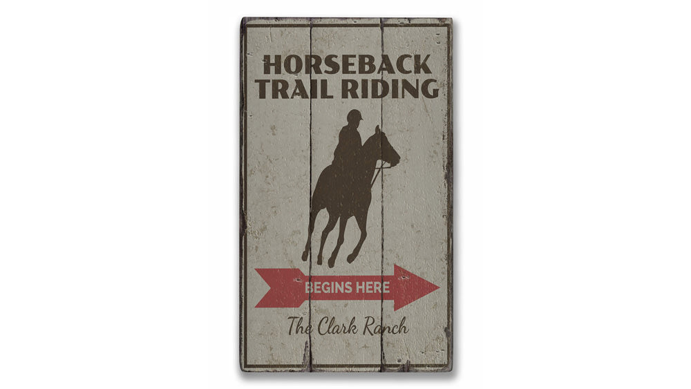 Horseback Trail Rider Rustic Wood Sign