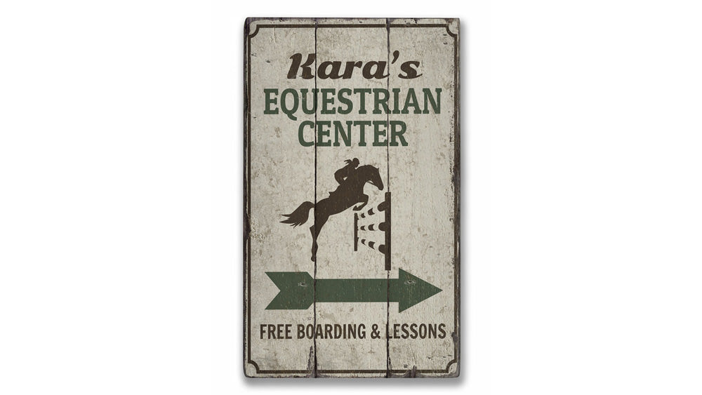Equestrian Center Rustic Wood Sign