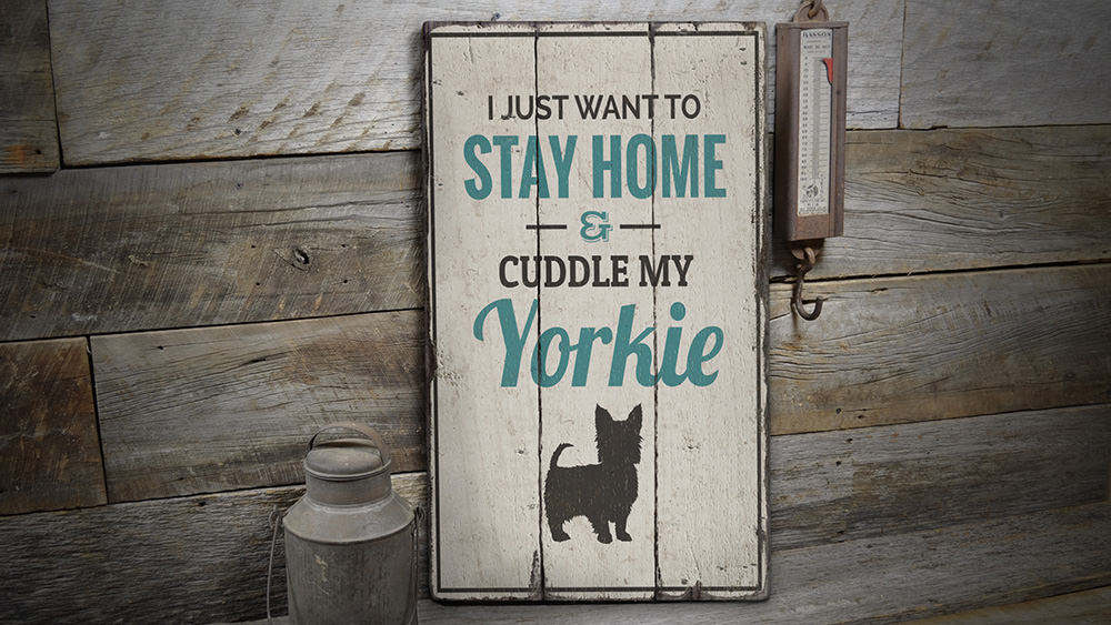 Yorkie Rustic Wood Sign