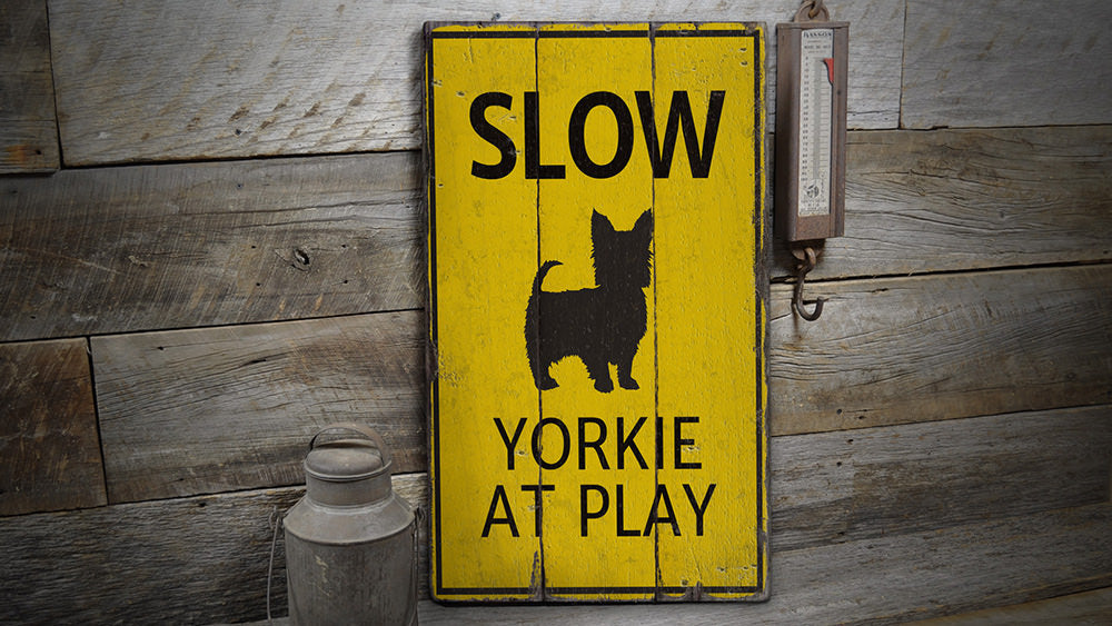 Slow Dog Rustic Wood Sign