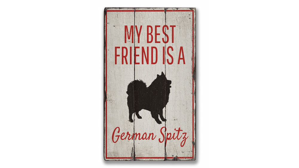 German Spitz Rustic Wood Sign