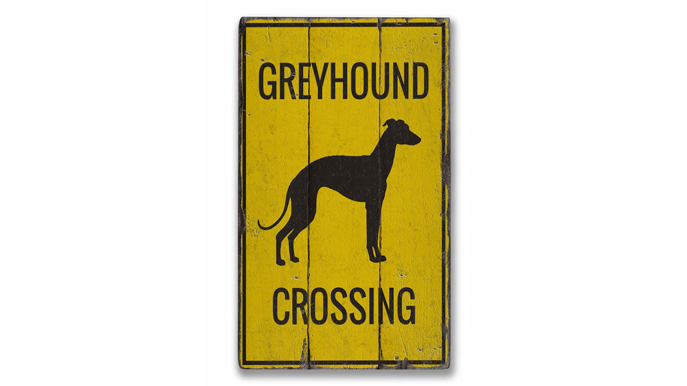 Greyhound Crossing Rustic Wood Sign