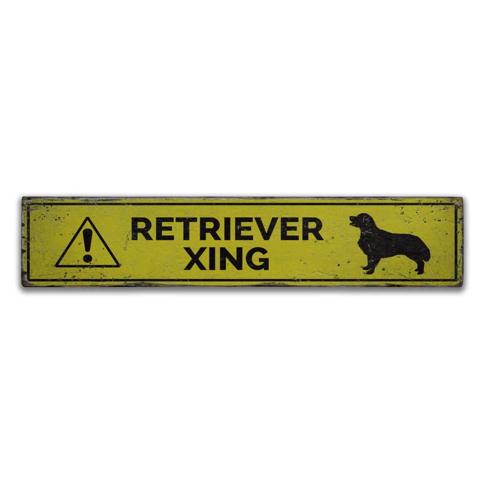 Retriever Crossing Vintage Wood Sign