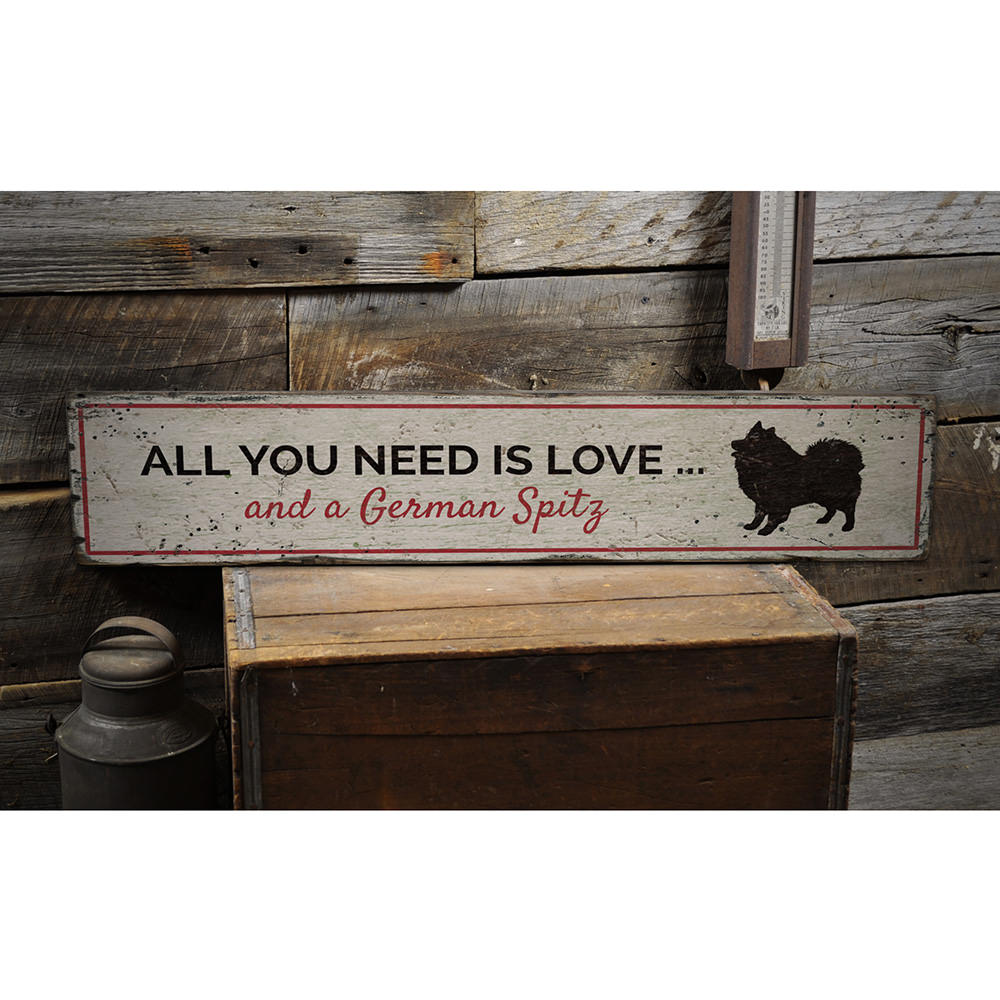 Love Dog Vintage Wood Sign