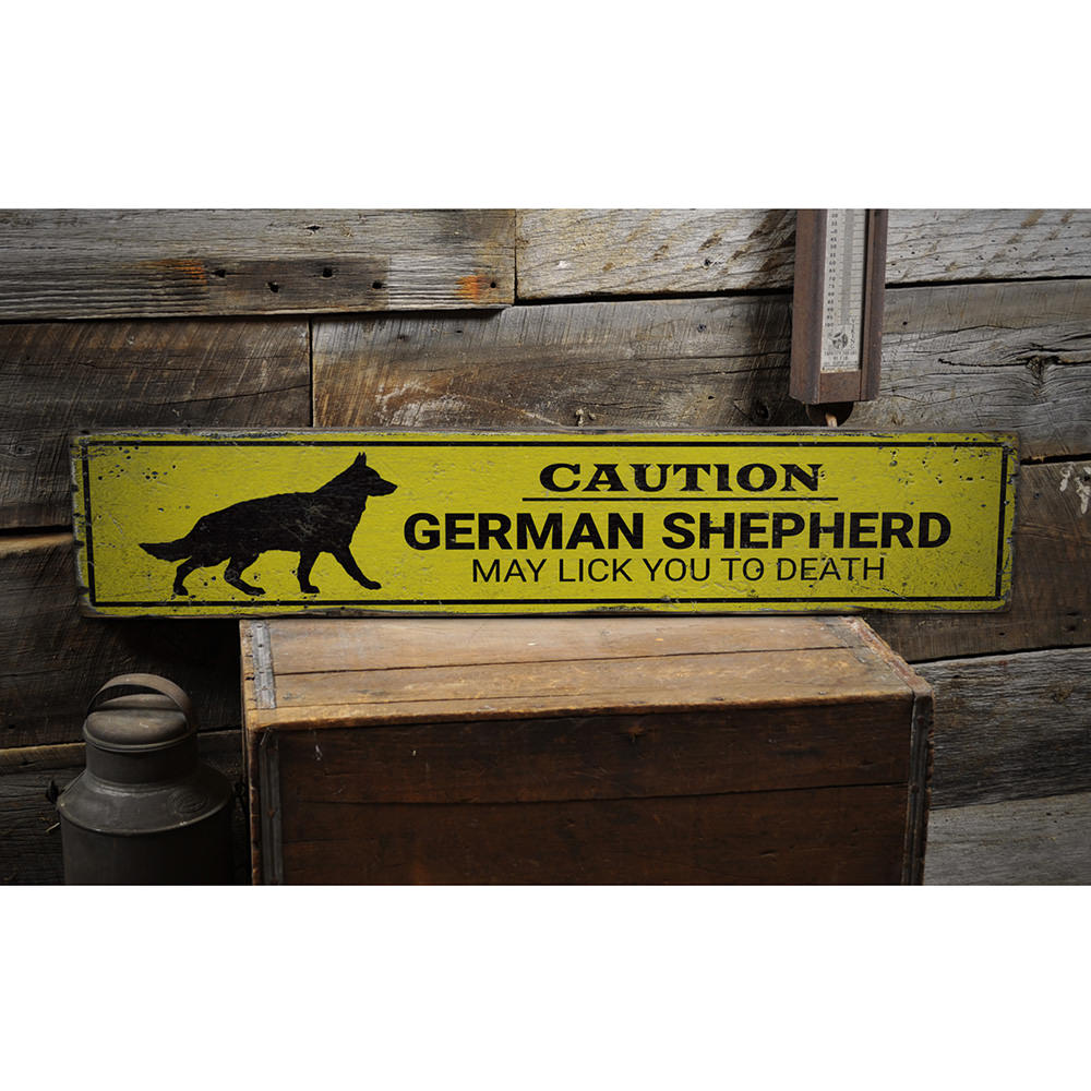 Caution German Shepherd Vintage Wood Sign