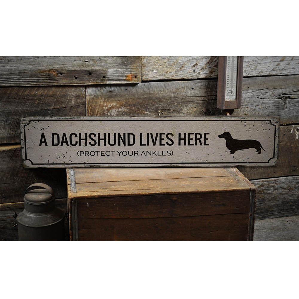 Funny Dachshund Vintage Wood Sign