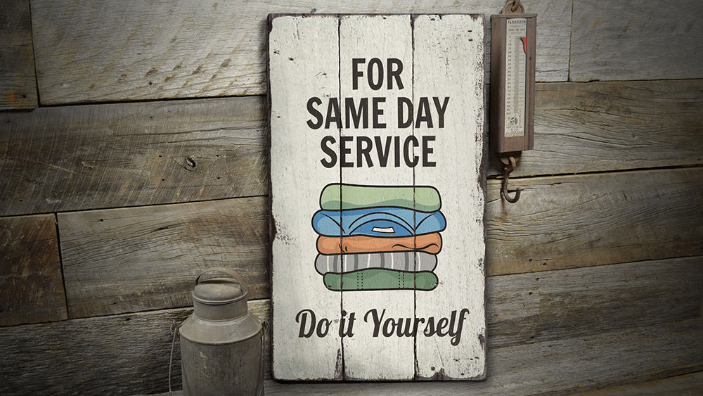 Same Day Service Laundry Rustic Wood Sign