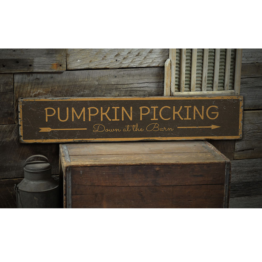 Pumpkin Picking Vintage Wood Sign