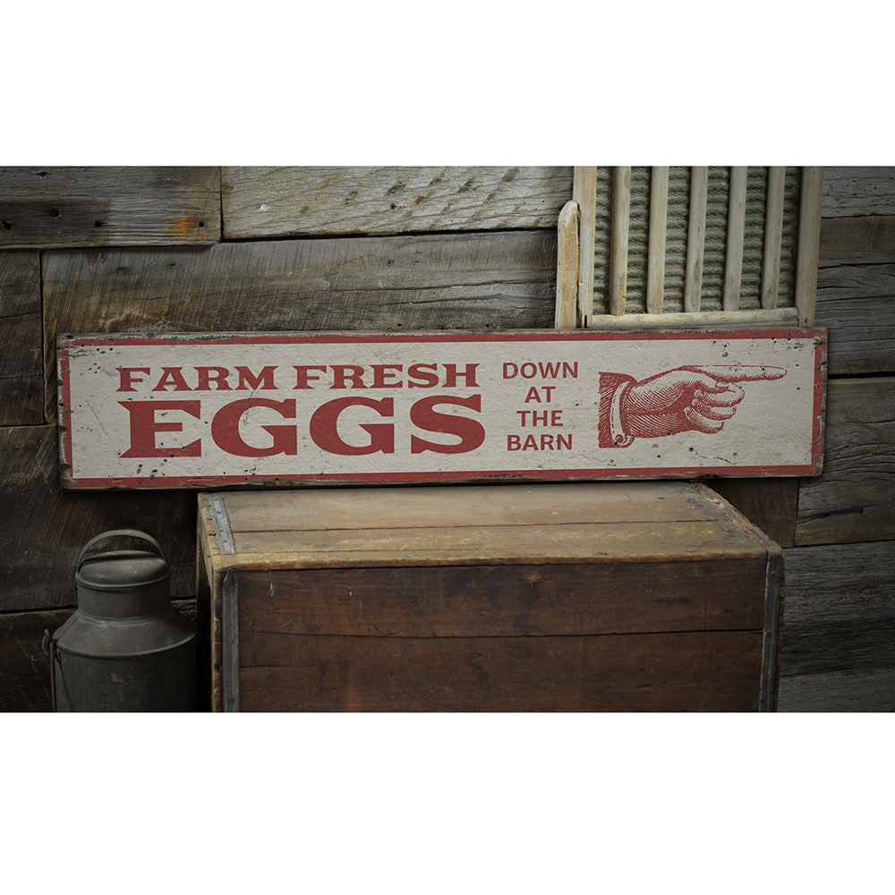 Eggs Vintage Wood Sign