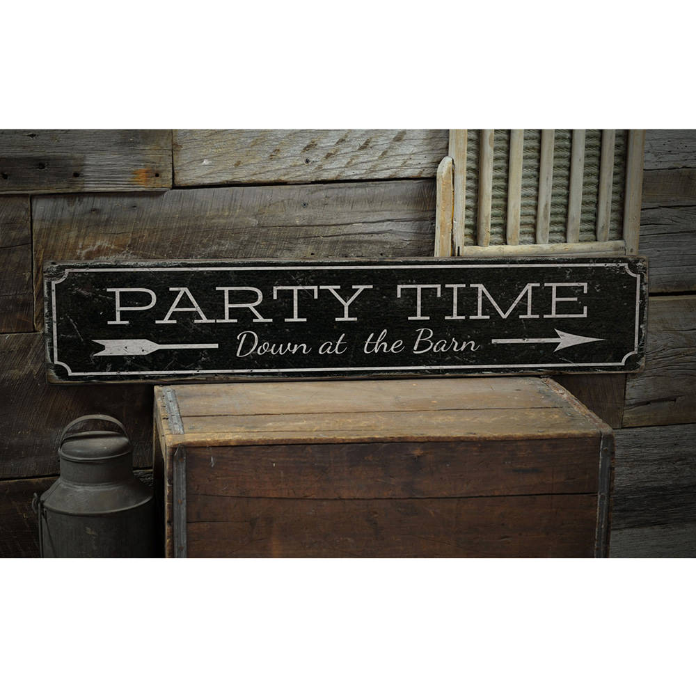 Party Time Vintage Wood Sign