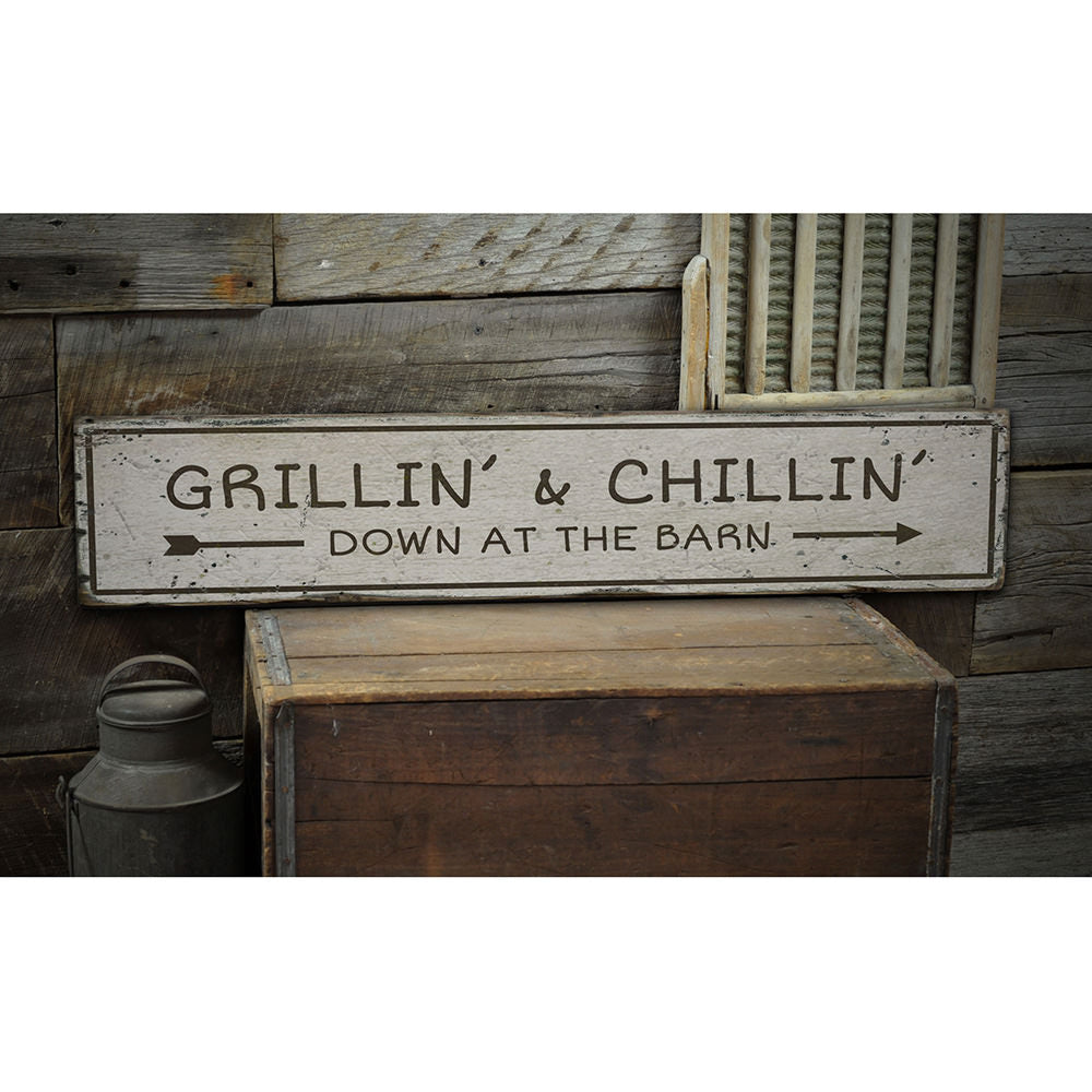 Grilling and Chillin Bar Vintage Wood Sign
