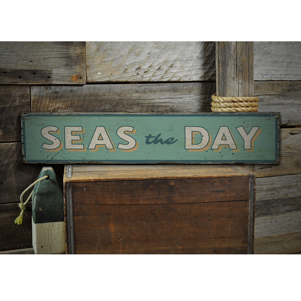 Seas the Day Vintage Wood Sign