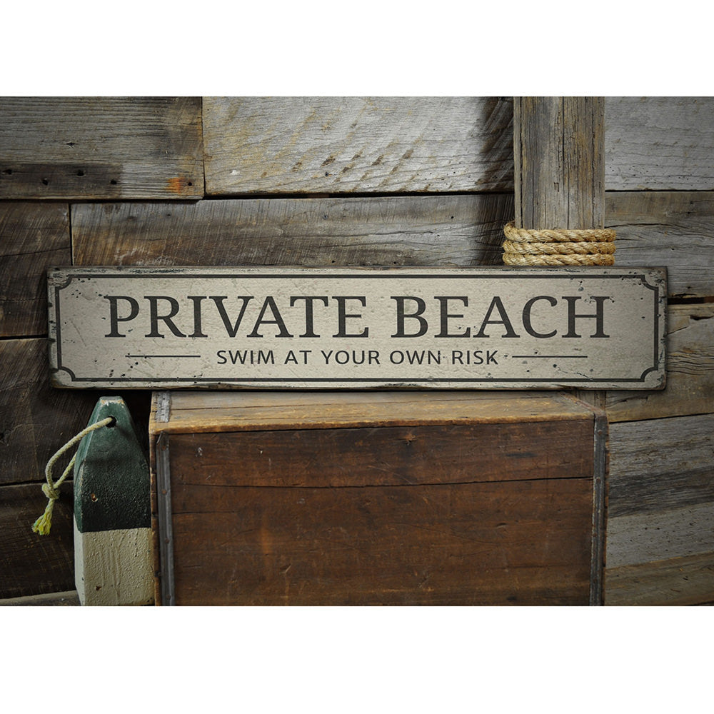 Private Beach Entrance Vintage Wood Sign