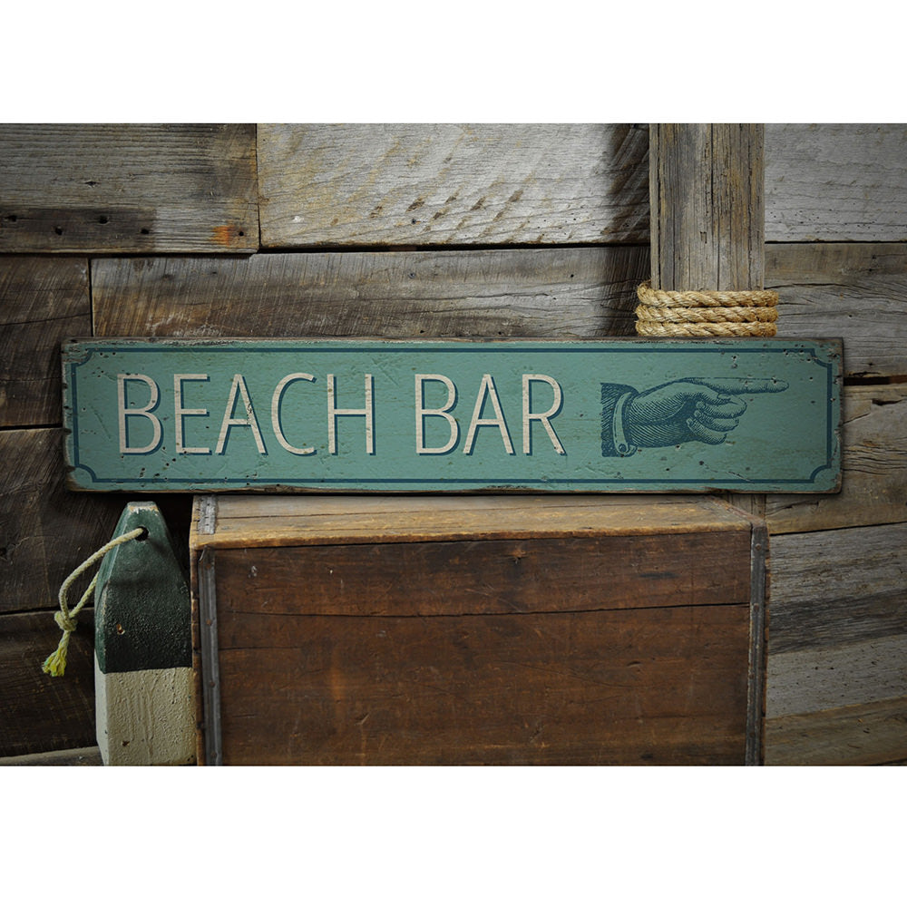 Beach Bar Pointing Hand Vintage Wood Sign