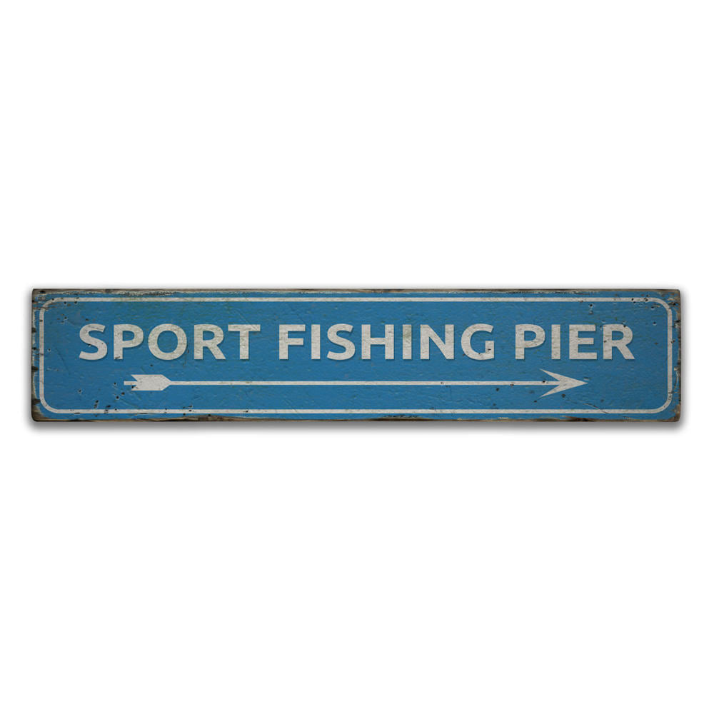 Sport Fishing Pier Vintage Wood Sign