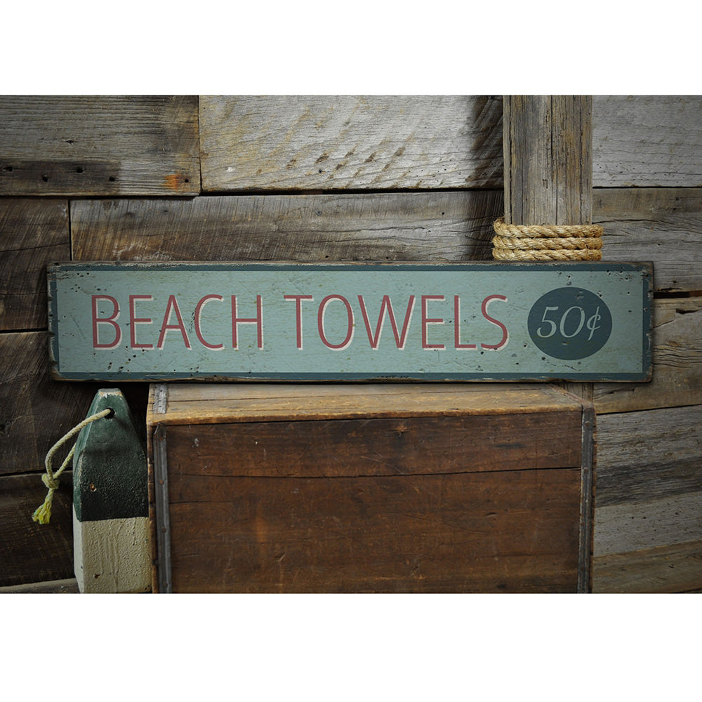 Beach Towel Vintage Wood Sign