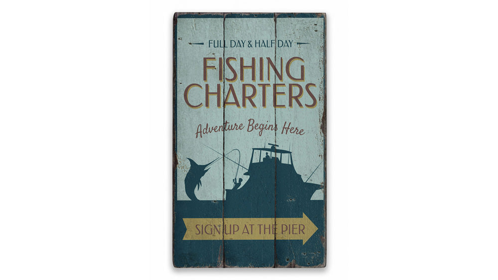 Fishing Charter Arrow Rustic Wood Sign