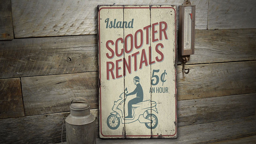 Scooter Rentals Rustic Wood Sign