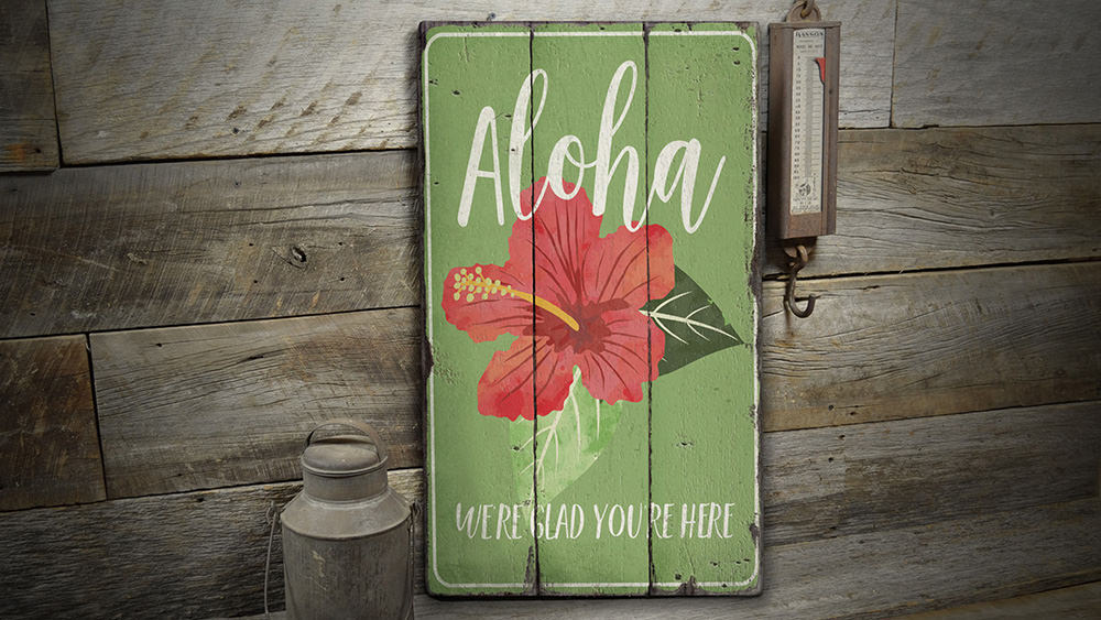 Aloha Flower Vintage Wood Sign