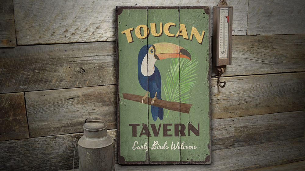 Toucan Rustic Wood Sign