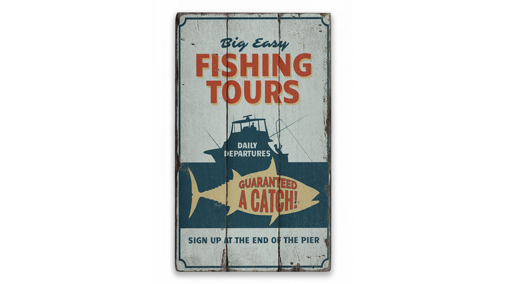 Fishing Tours Rustic Wood Sign