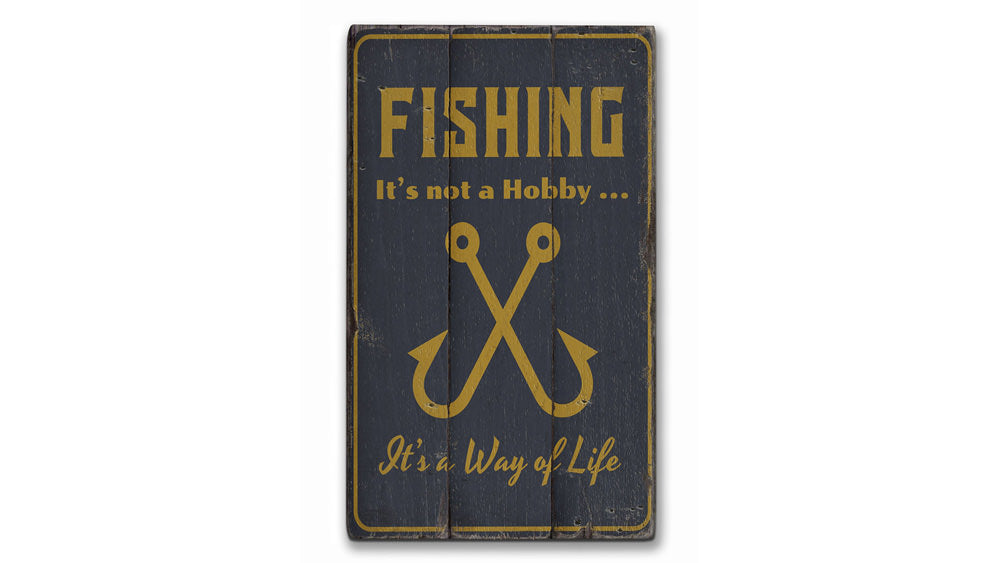Fishing Hobby Rustic Wood Sign
