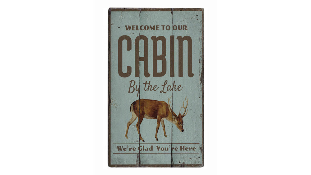 Lake Cabin Welcome Rustic Wood Sign