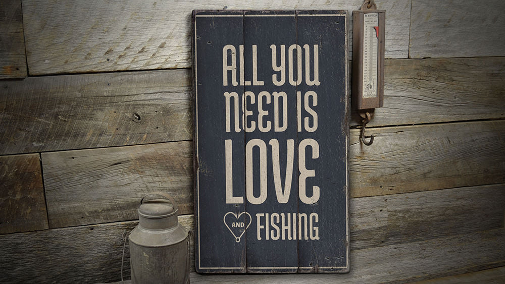 Fishing Lover Rustic Wood Sign