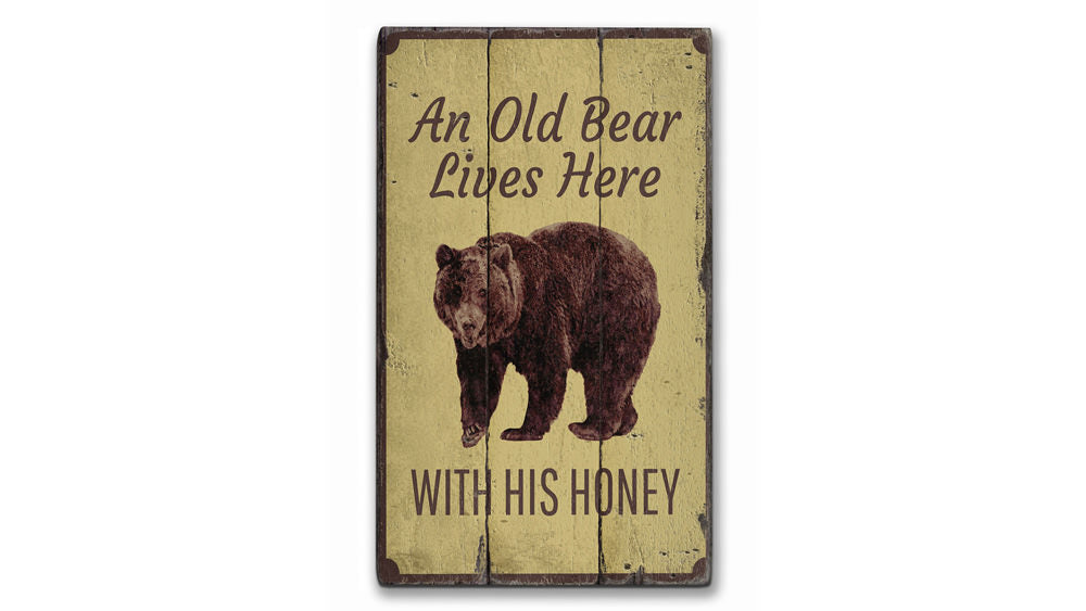 Bear Lover Rustic Wood Sign