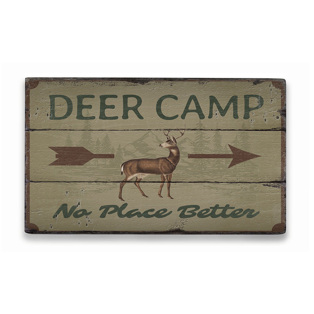 Deer Camp Arrow Rustic Wood Sign