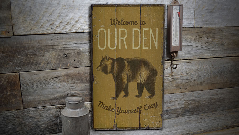Bear Den Rustic Wood Sign