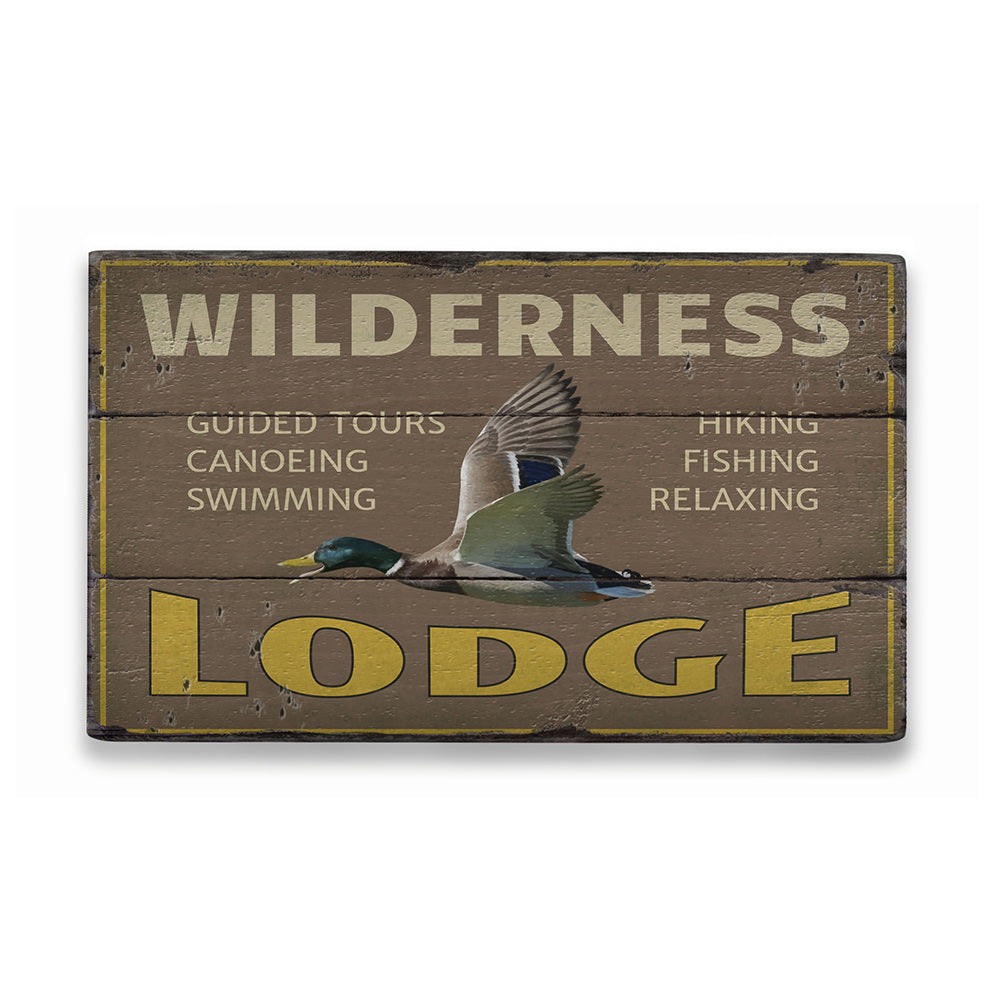 Wilderness Lodge Rustic Wood Sign