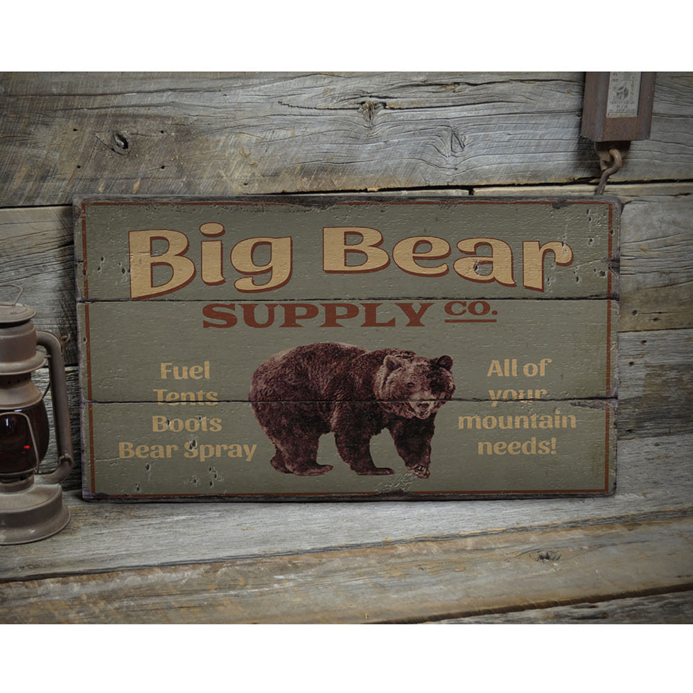 Big Bear Supply Company Rustic Wood Sign