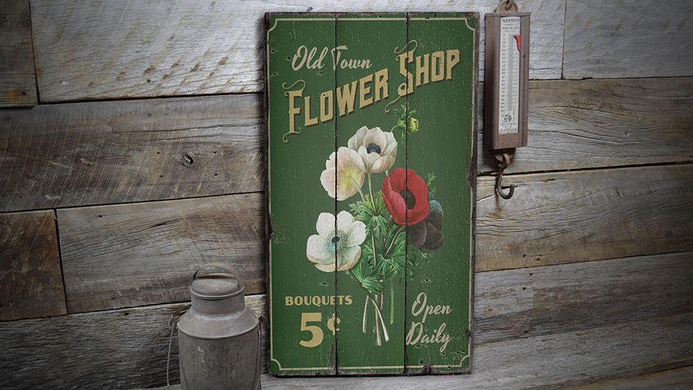 Flower Bouquet Rustic Wood Sign