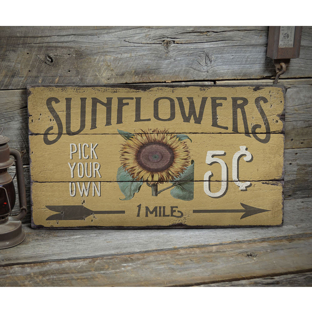 Sunflowers 5 Cents Rustic Wood Sign