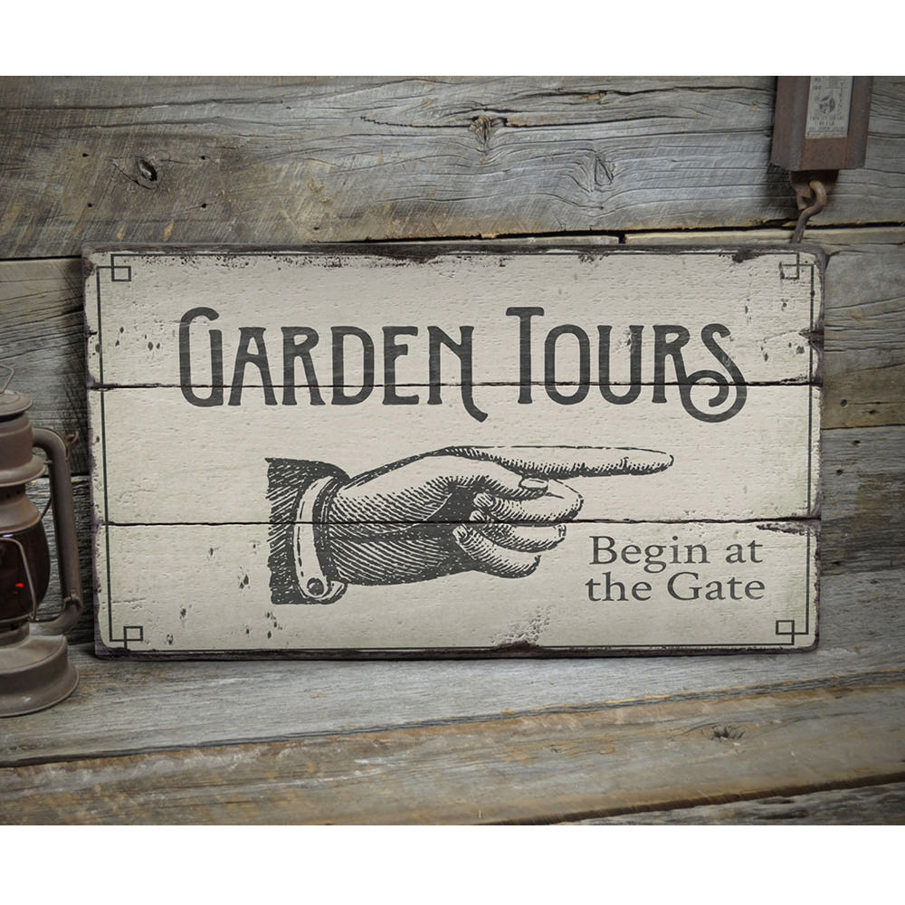 Garden Tours Directional Rustic Wood Sign