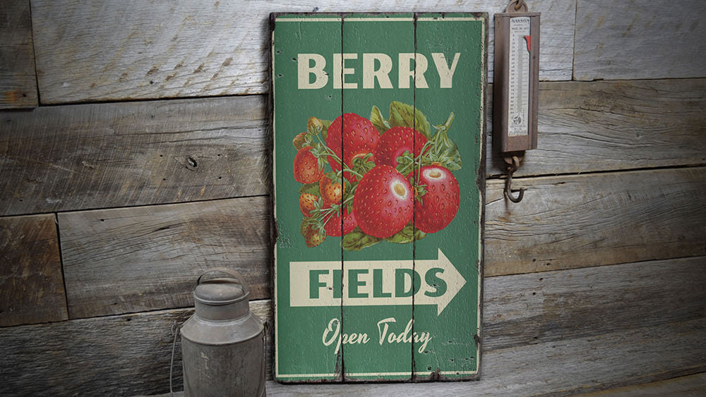 Berry Fields Rustic Wood Sign