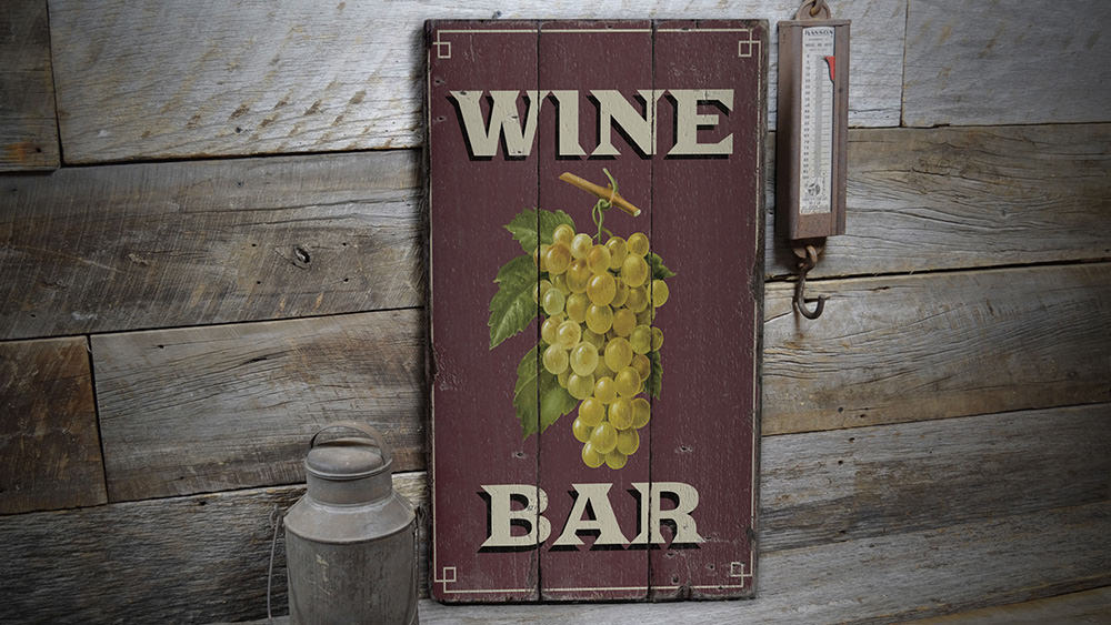Wine Bar Rustic Wood Sign