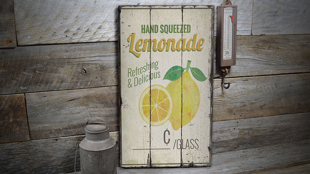 Hand Squeezed Lemonade Rustic Wood Sign
