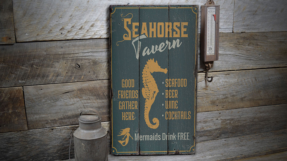 Seahorse Tavern Rustic Wood Sign