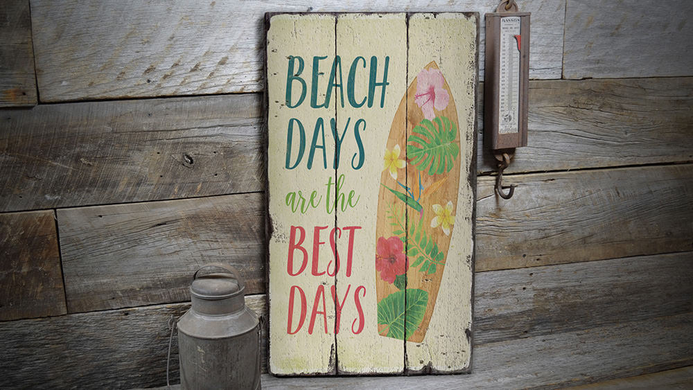 Colorful Surfboard Rustic Wood Sign