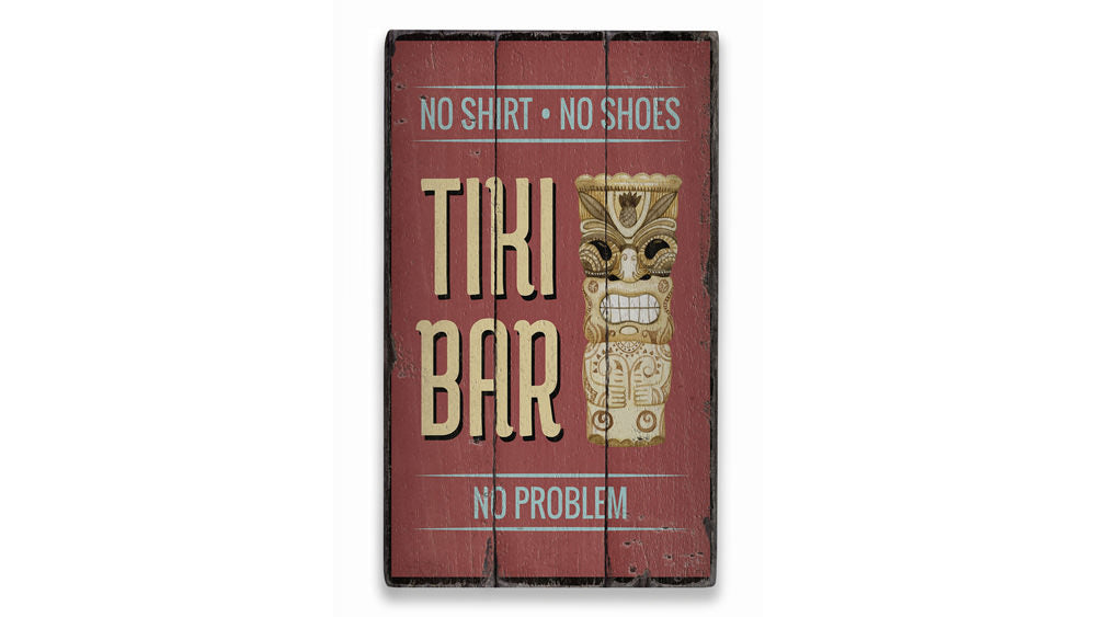 Tiki Statue Rustic Wood Sign